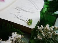 Real Moss Globe Necklace on Sterling Silver Chain